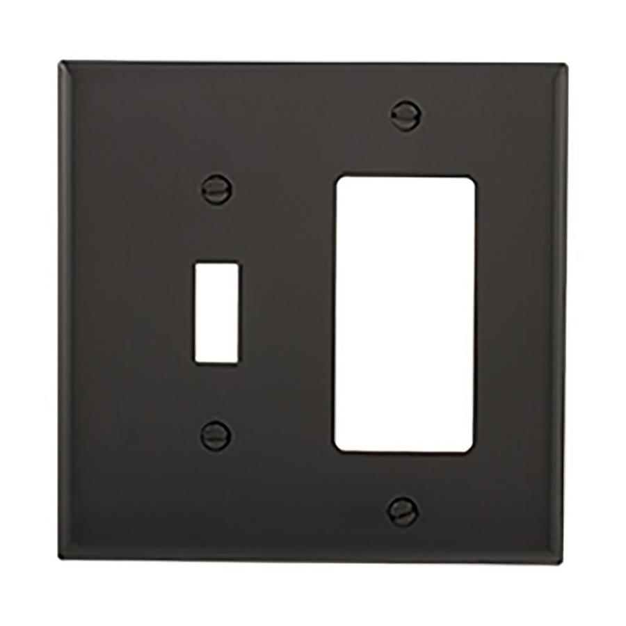 Eaton 2-Gang Black Double Toggle/Decorator Wall Plate