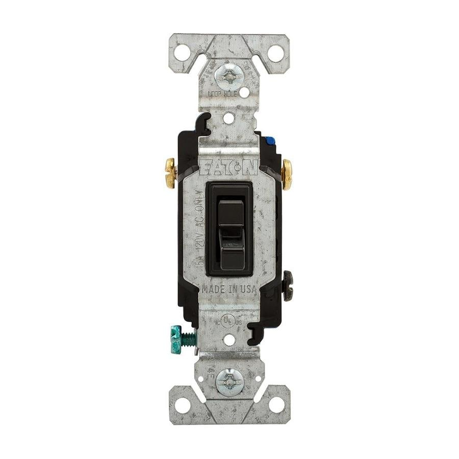 Eaton 15-amp Single Pole 3-way Black Toggle Indoor Light Switch