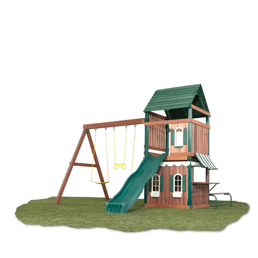 Swing-N-Slide Newport News Ready-to-Assemble Kit Residential Wood Playset with Swings