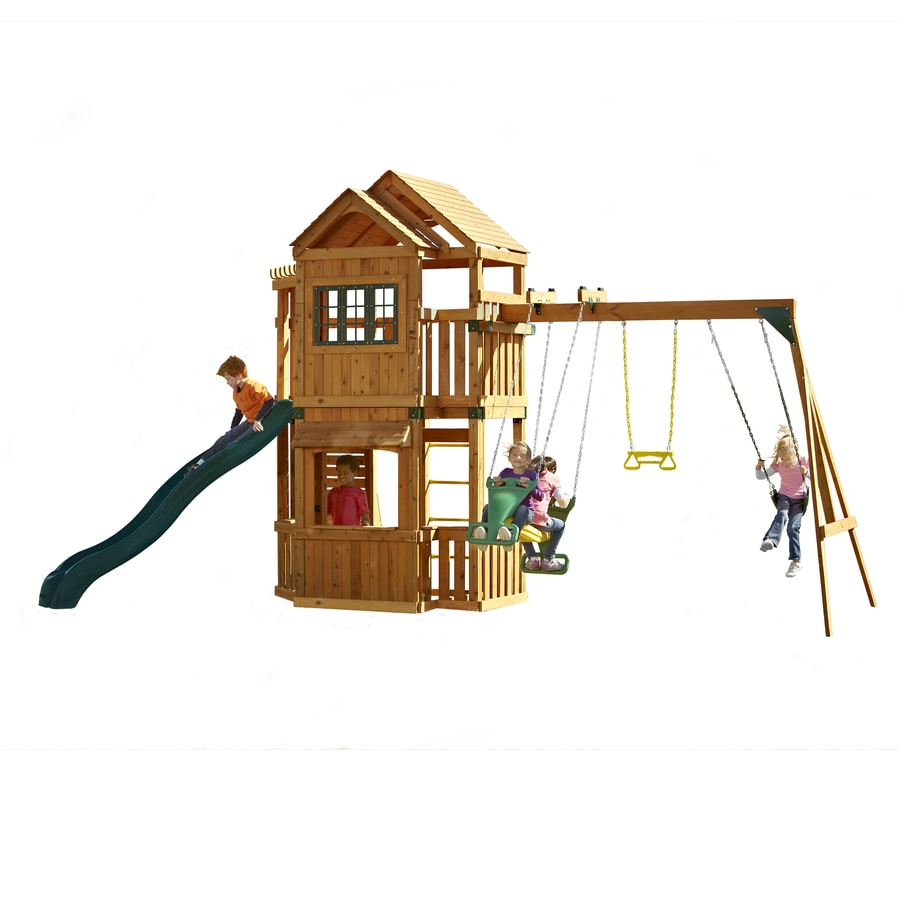 Swing-N-Slide Mountain Hollow Ready-to-Assemble Residential Wood Playset with Swings