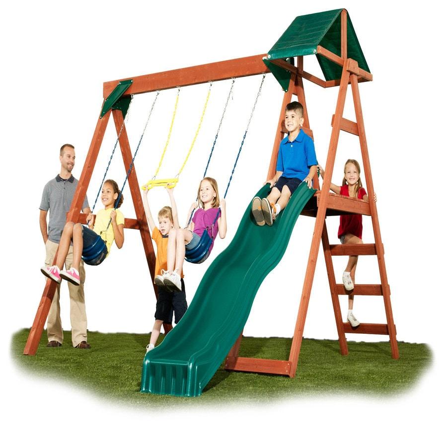 Swing-N-Slide McKinley Ready-to-Assemble Kit Residential Wood Playset with Swings