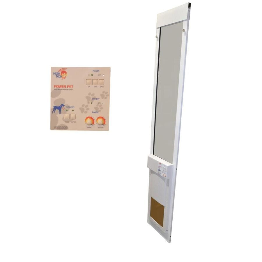 shop high tech pet medium white composite sliding pet door With lowes dog door installation