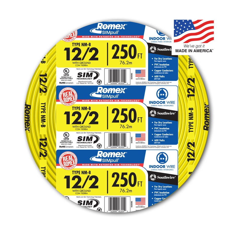 Shop electrical wire cable at lowes southwire romex simpull 250 ft 12 2 non metallic wire by greentooth Images