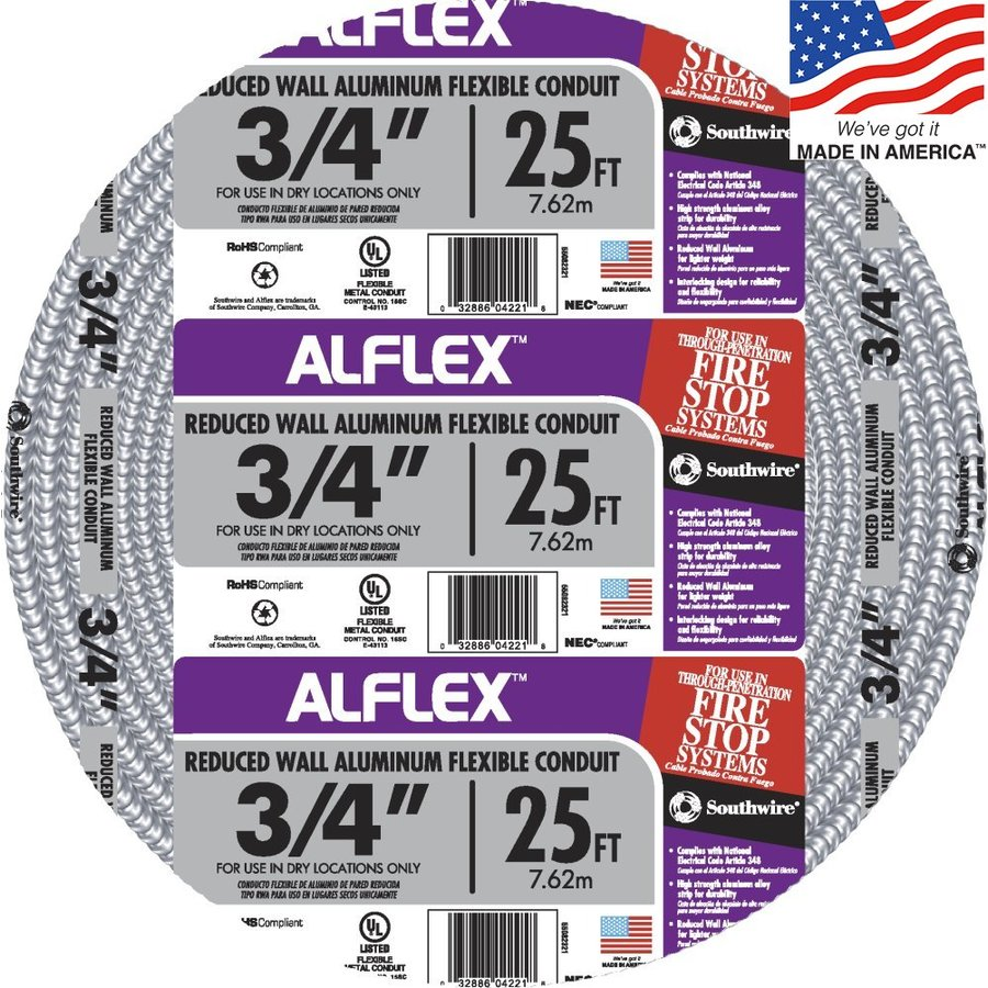 Southwire (Common: 3/4-in; Actual: .75-In) Metallic Flex 25-ft Conduit