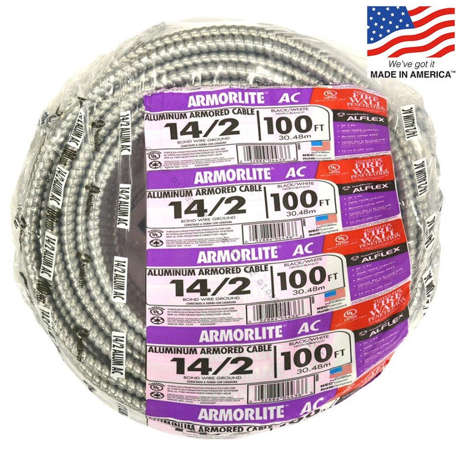 100-ft 14-2 Solid Aluminum BX Cable