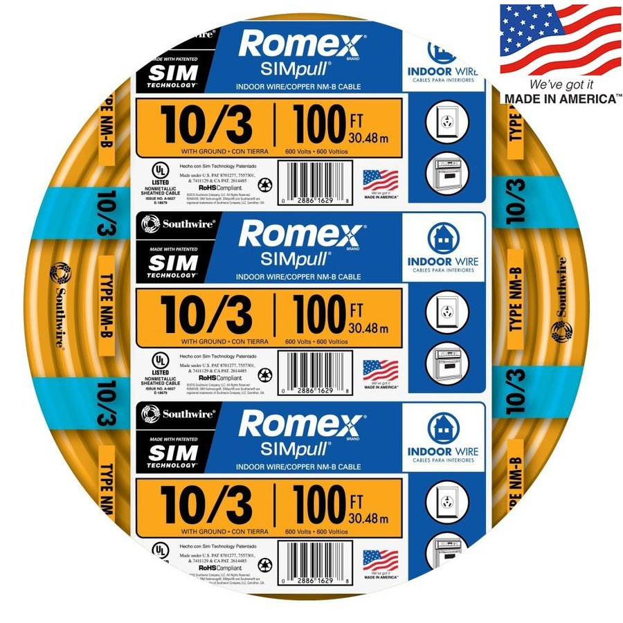 Shop Southwire Romex SIMpull 100-ft 10/3 Non-Metallic Wire (By-the ...