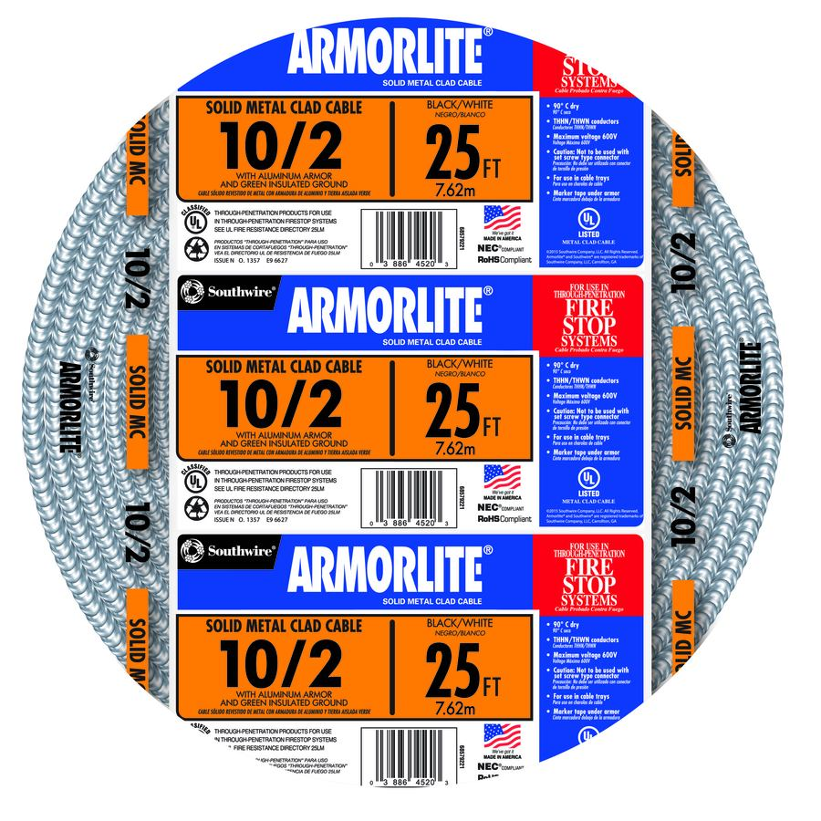 Southwire Armorlite 25-ft 10- 2 Solid Aluminum MC Cable