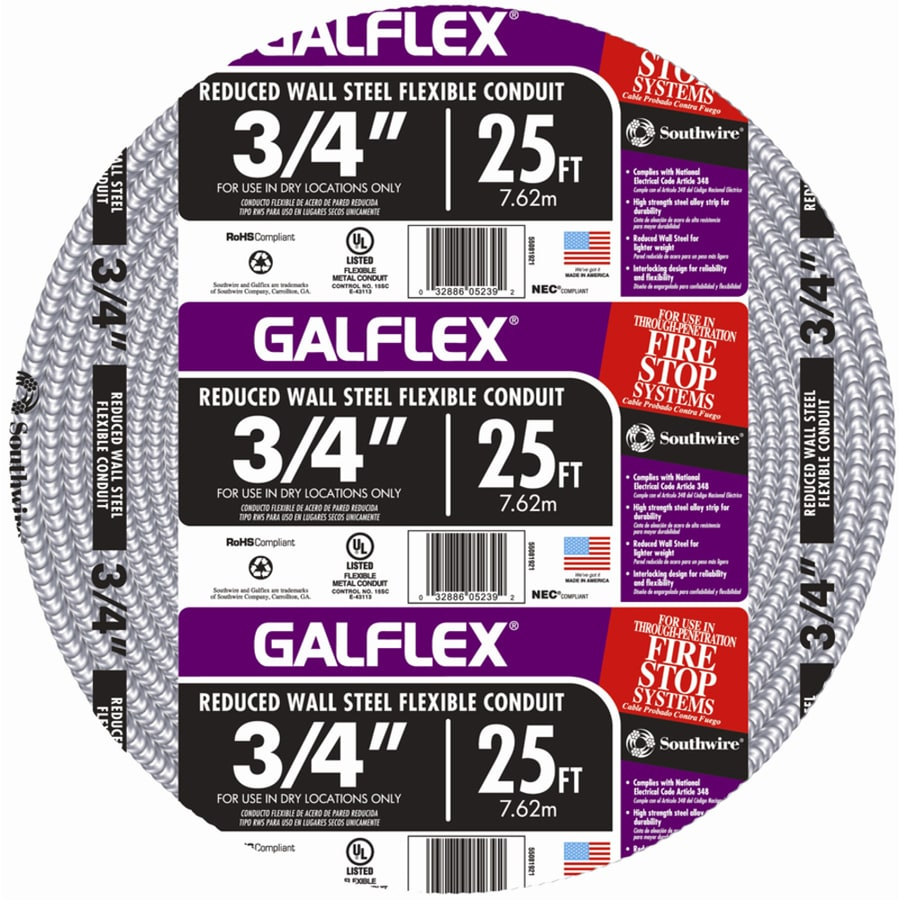 Southwire Metal Flex 25-ft Conduit (Common: 3/4-in; Actual: 0.75-in)