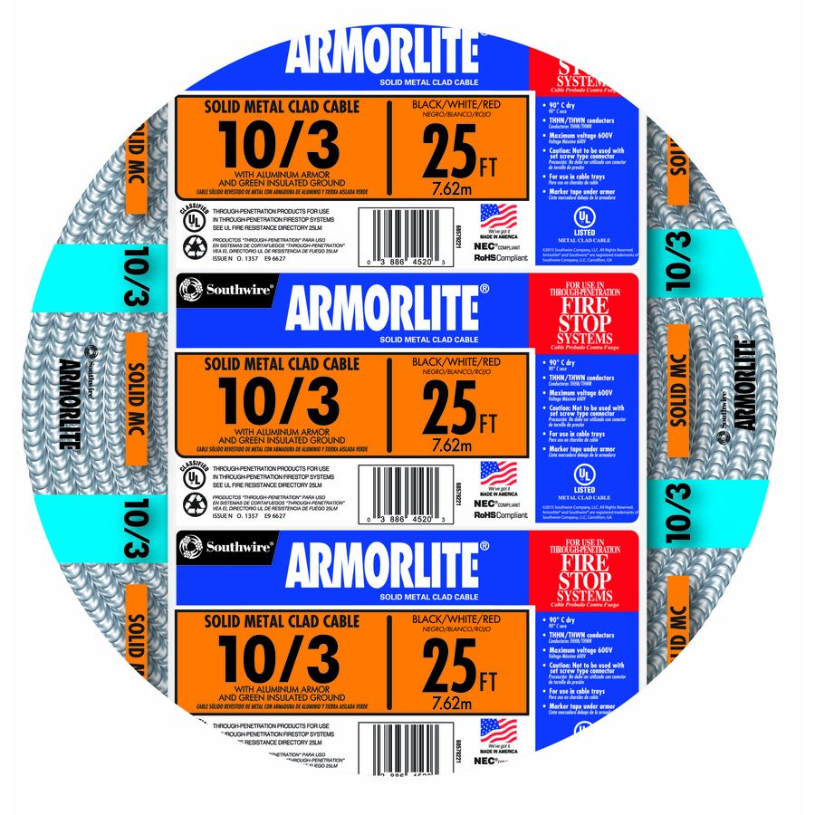 Shop Southwire Armorlite 25 Ft 10 3 Solid Aluminum Mc