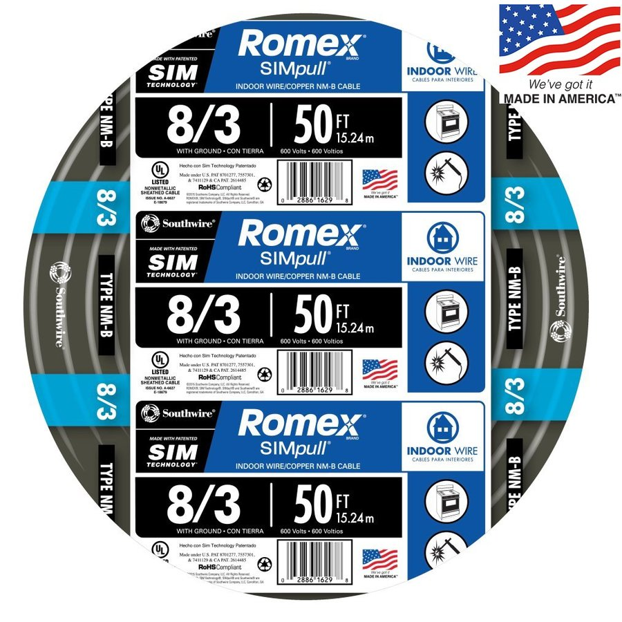 Southwire Romex SIMpull 50-ft 8-3 Non-Metallic Wire (By-the-Roll)