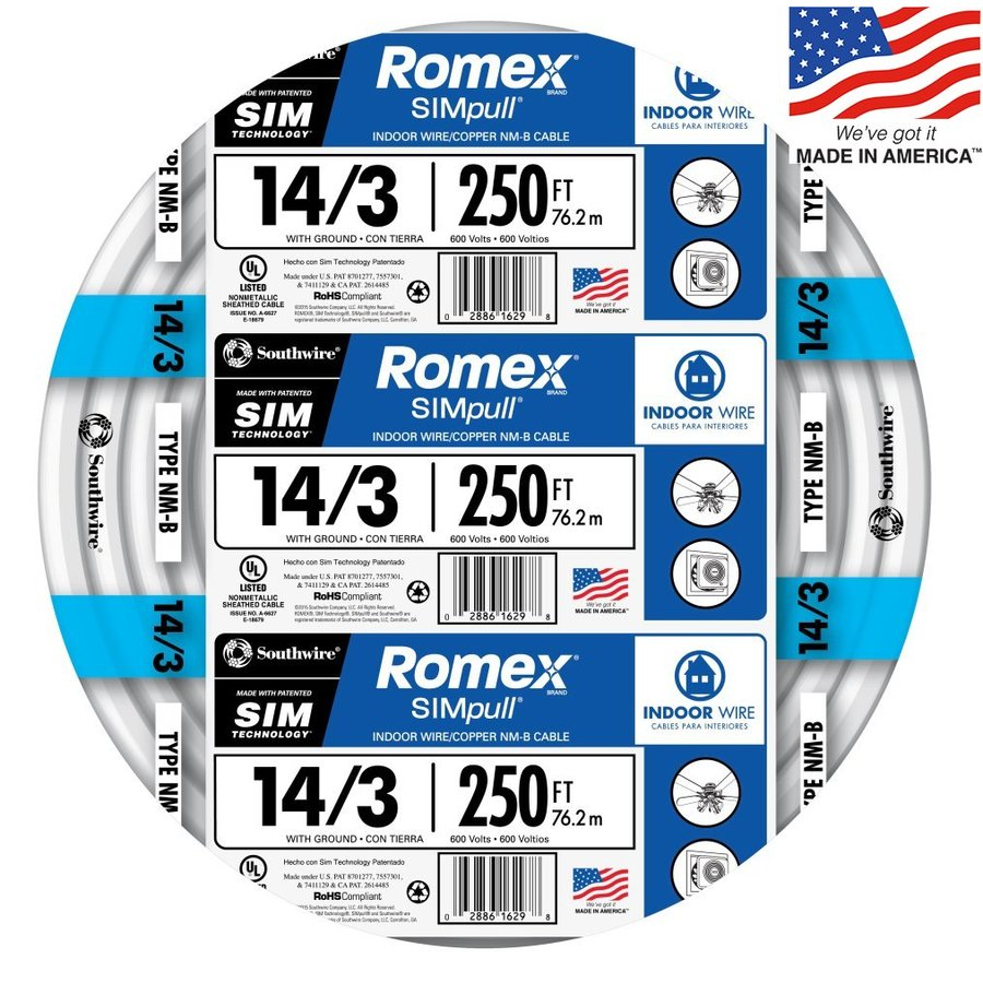 Shop electrical wire cable at lowes display product reviews for romex simpull 250 ft 143 non metallic wire greentooth Images