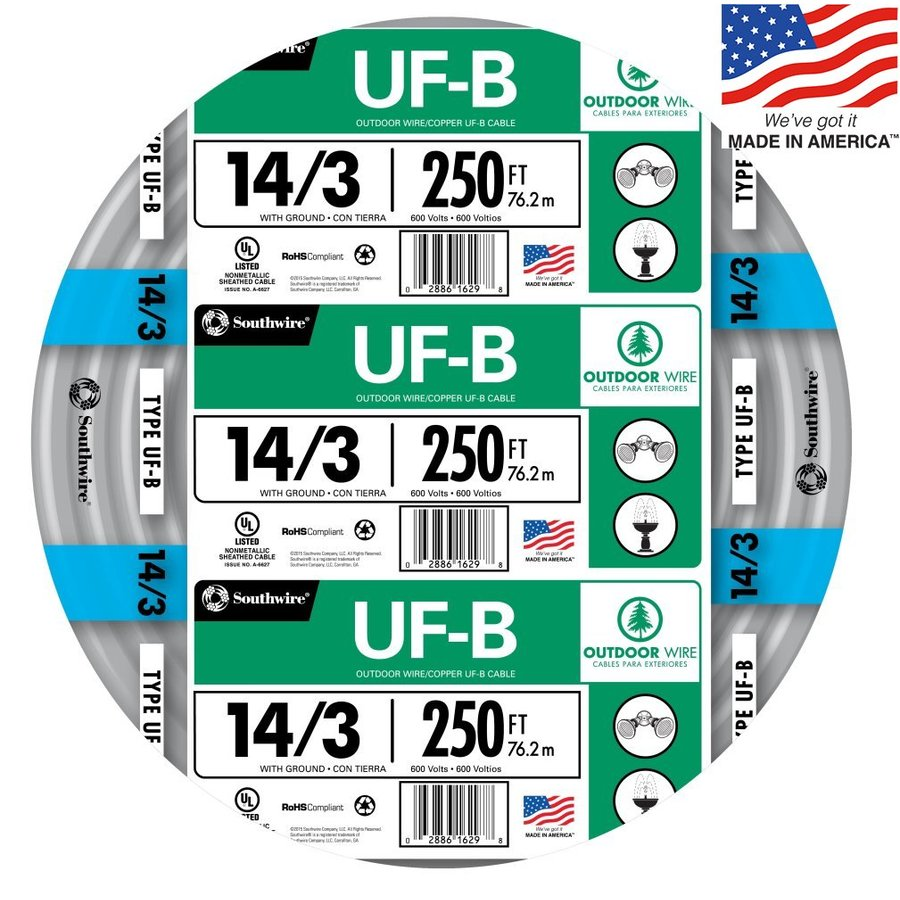 250-ft 14-3 UF Wire (By-the-Roll)