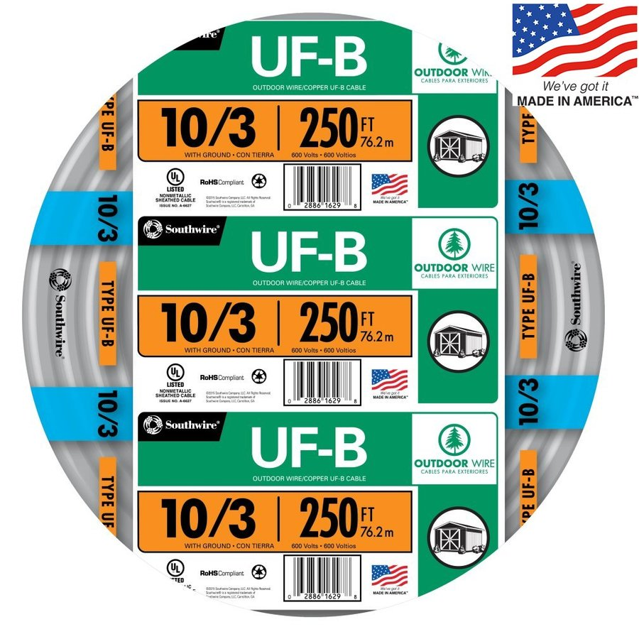 Shop Southwire 250-ft 10/3 UF Wire (By-the-Roll) at Lowes.com