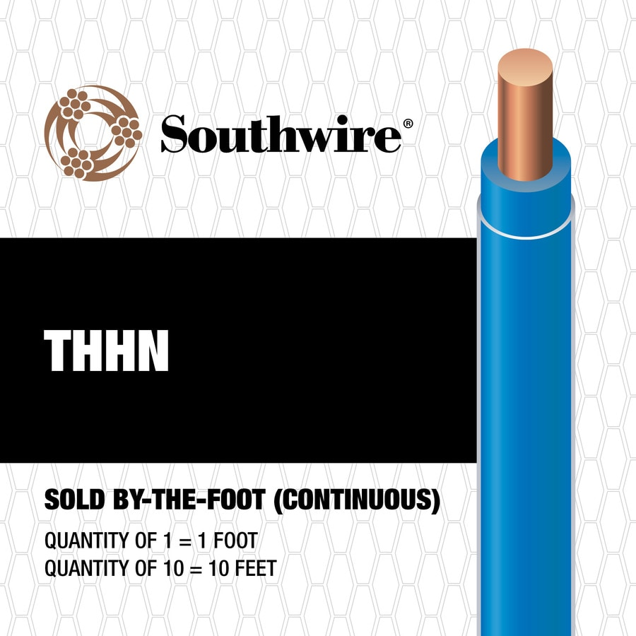 Shop Southwire 14-AWG Solid Blue Copper THHN Wire (By-the-Foot) at ...