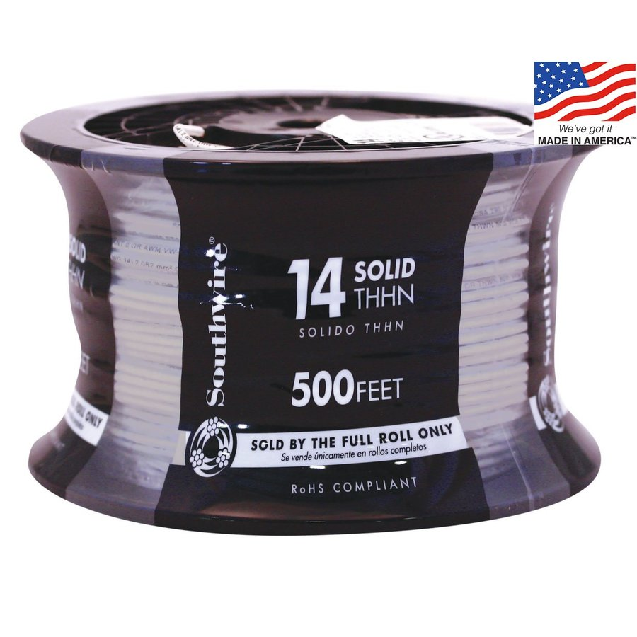 500-ft 14-AWG Solid Grey Copper THHN Wire (By-the-Roll)
