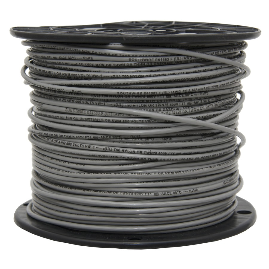 500-ft 12-AWG Solid Grey Copper THHN Wire (By-the-Roll)