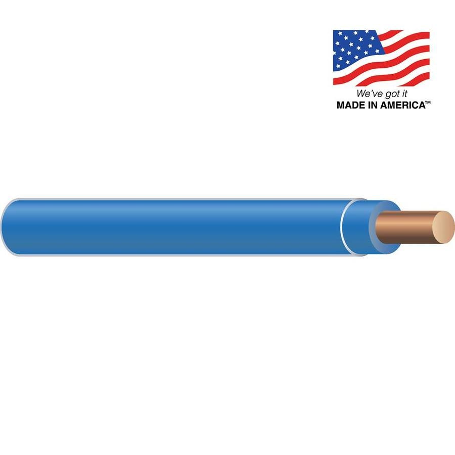 10-AWG Solid Blue Copper THHN Wire (By-the-Foot)
