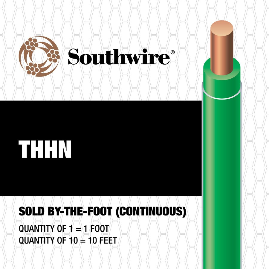 Southwire 10-AWG Solid Green Copper THHN Wire (By-the-Foot)