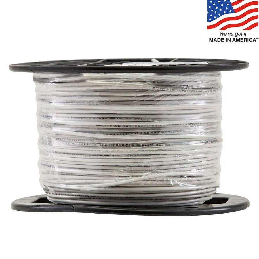 500-ft 16-Awg Stranded White TFFN Wire (By-the-Roll)