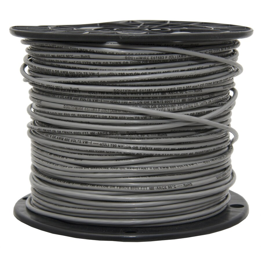 500-ft 14-AWG Stranded Grey Copper THHN Wire (By-the-Roll)