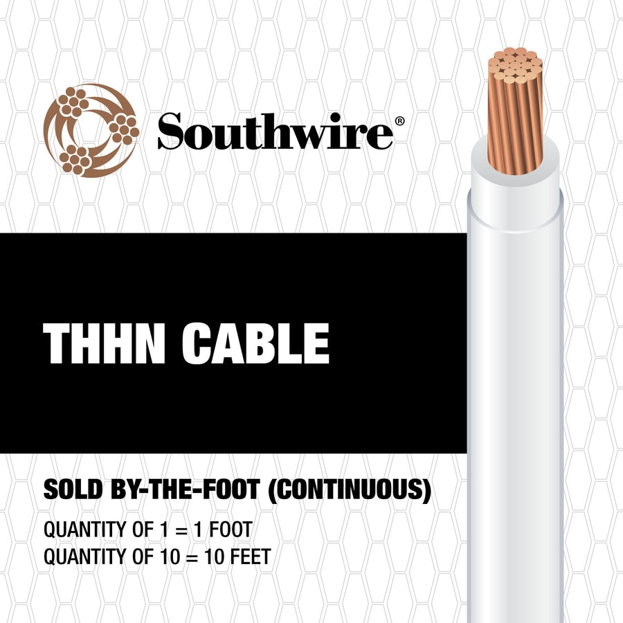 Southwire 10-AWG Stranded White Copper THHN Wire (By-the-Foot)
