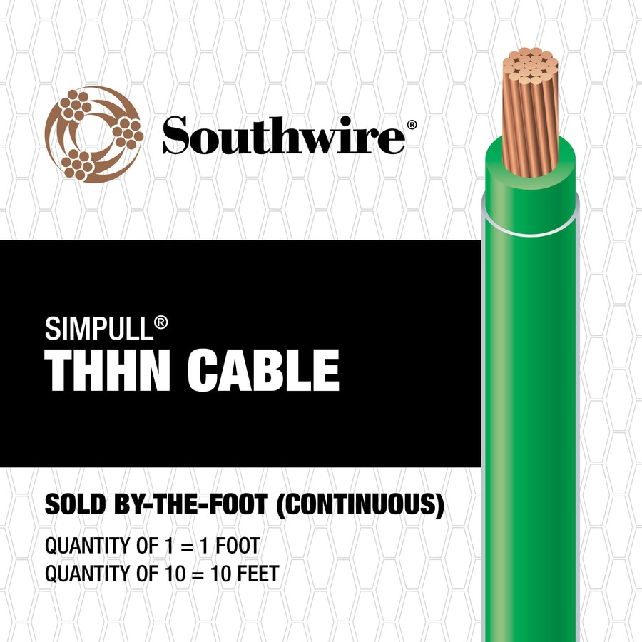 SIMpull 6 AWG Stranded Green Copper THHN Wire (By-the-Foot)