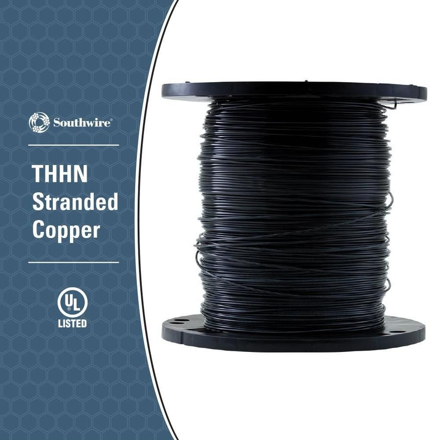 4 AWG Stranded Black Copper THHN Wire (By-the-Foot)