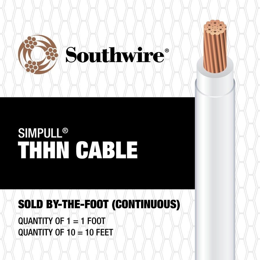 SIMpull 4 AWG Stranded White Copper THHN Wire (By-the-Foot)
