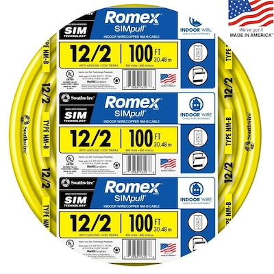 Romex Simpull 100 Ft 12 2 Non Metallic Wire By The Roll