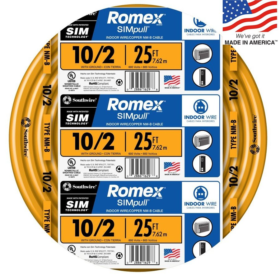 Southwire Romex SIMpull 25-ft 10-2 Non-Metallic Wire (By-the-Roll)