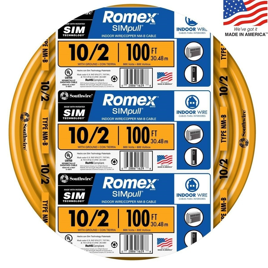 Romex SIMpull 100-ft 10-2 Non-Metallic Wire (By-the-Roll)