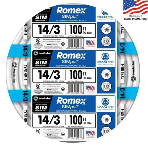 By-the-Roll 250-ft 14//2 Romex SIMpull Non-Metallic Wire NM-B Cable Indoor Wire