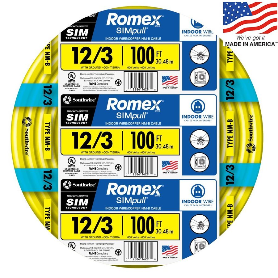 Southwire Romex SIMpull 100-ft 12-3 Non-Metallic Wire (By-the-Roll)