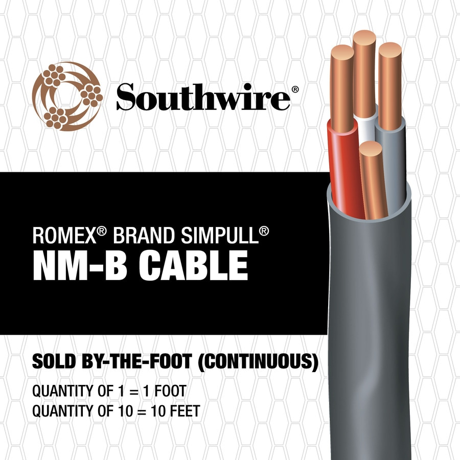 Electrical Cable Copper Wire Gauge 12 2 Romex Simpull Shop Southwire 4 3 Indoor Non Metallic Jacket By The
