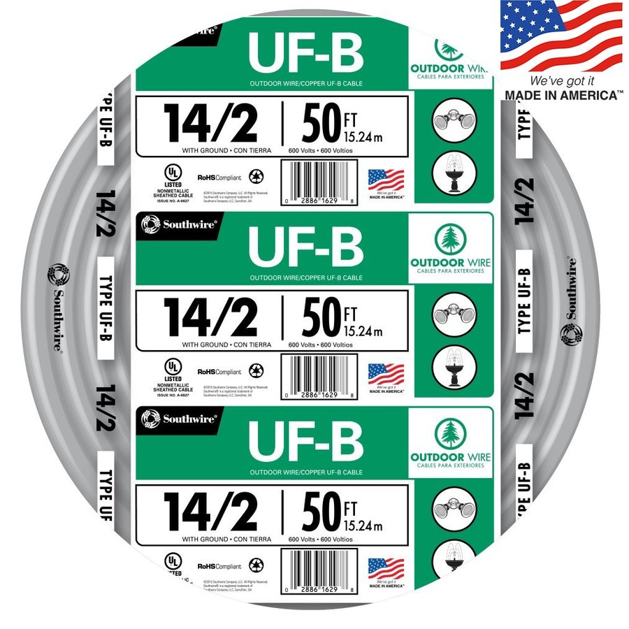 14-2 Wire | 50 Ft 14 2 Uf Wire By The Roll At Lowes Com