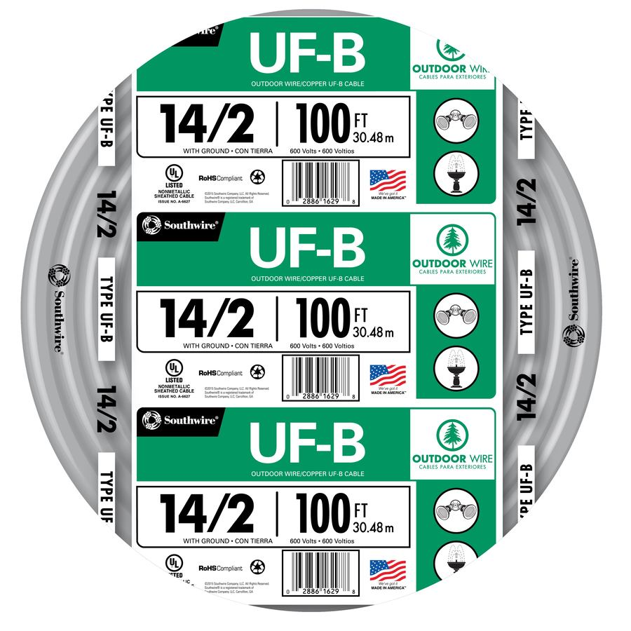 Shop southwire 100 ft 14 2 uf wire by the roll at lowes southwire 100 ft 14 2 uf wire by the roll greentooth Images