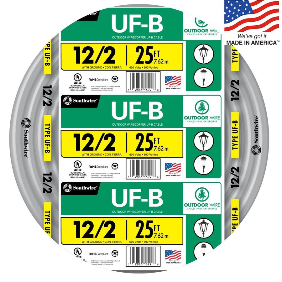Southwire 25-ft 12-2 UF Wire (By-the-Roll)