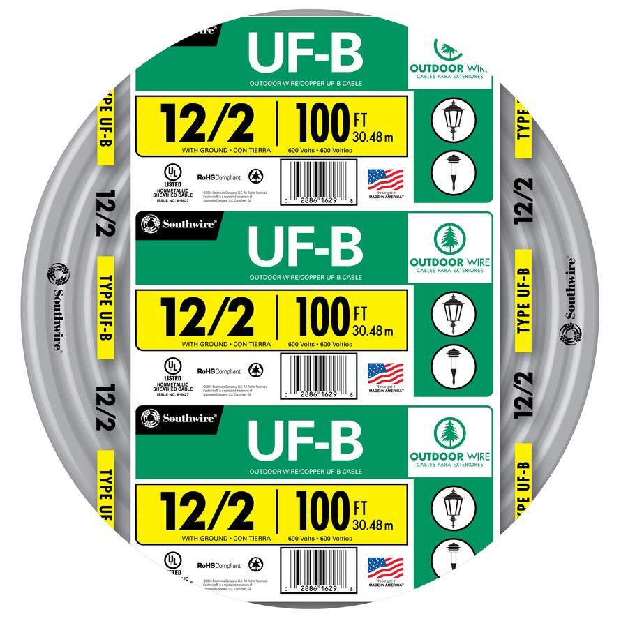 100-ft 12-2 UF Wire (By-the-Roll)