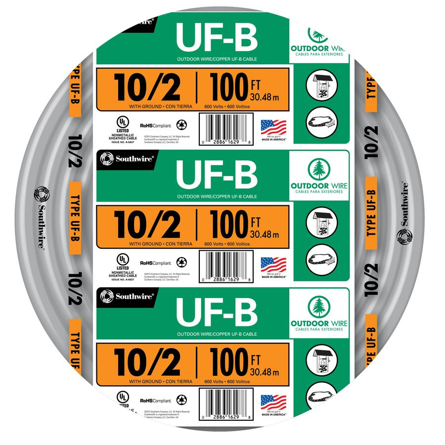 Shop 100-ft 10/2 UF Wire (By-the-Roll) at Lowes.com