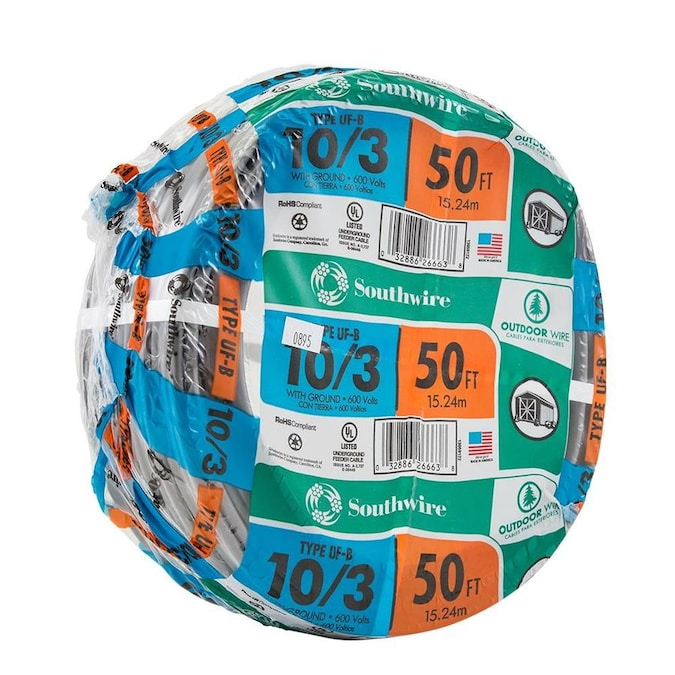 Southwire 50 Ft 10 3 Uf Wire By The Roll In The Uf Wire By The Roll Department At Lowes Com