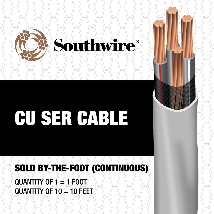 2-2-2-4 Copper SER Service Entrance Cable (By-the-Foot)