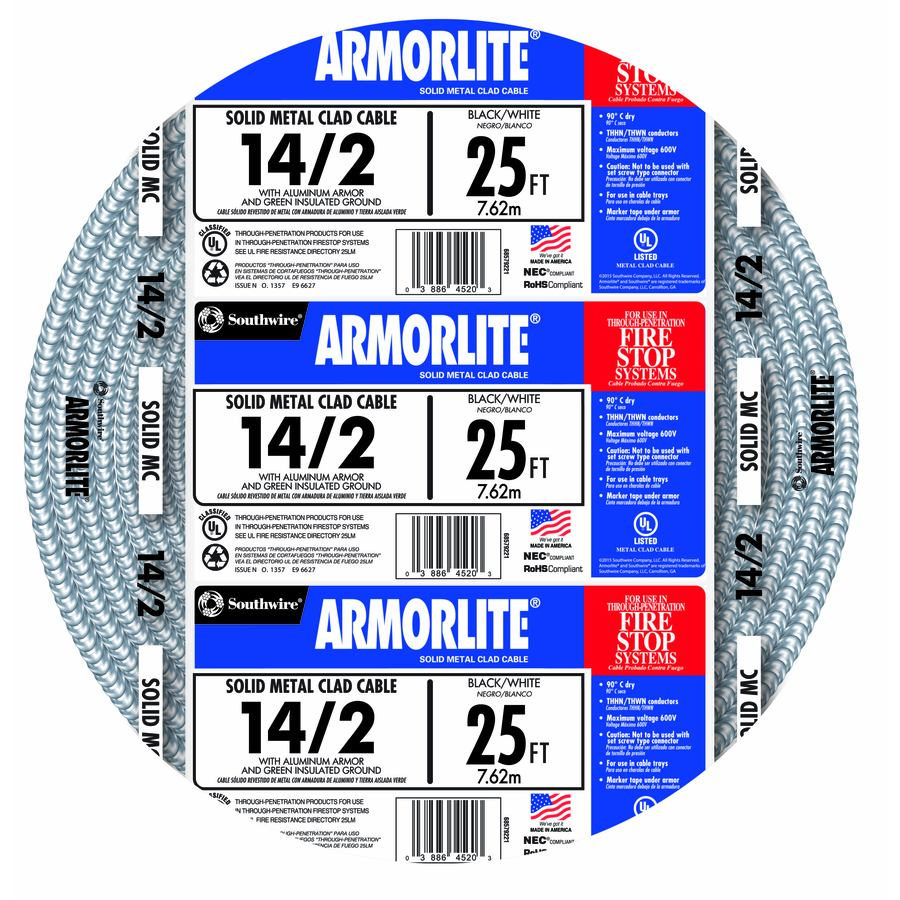 Southwire Armorlite 25-ft 14-2 Solid Aluminum MC Cable