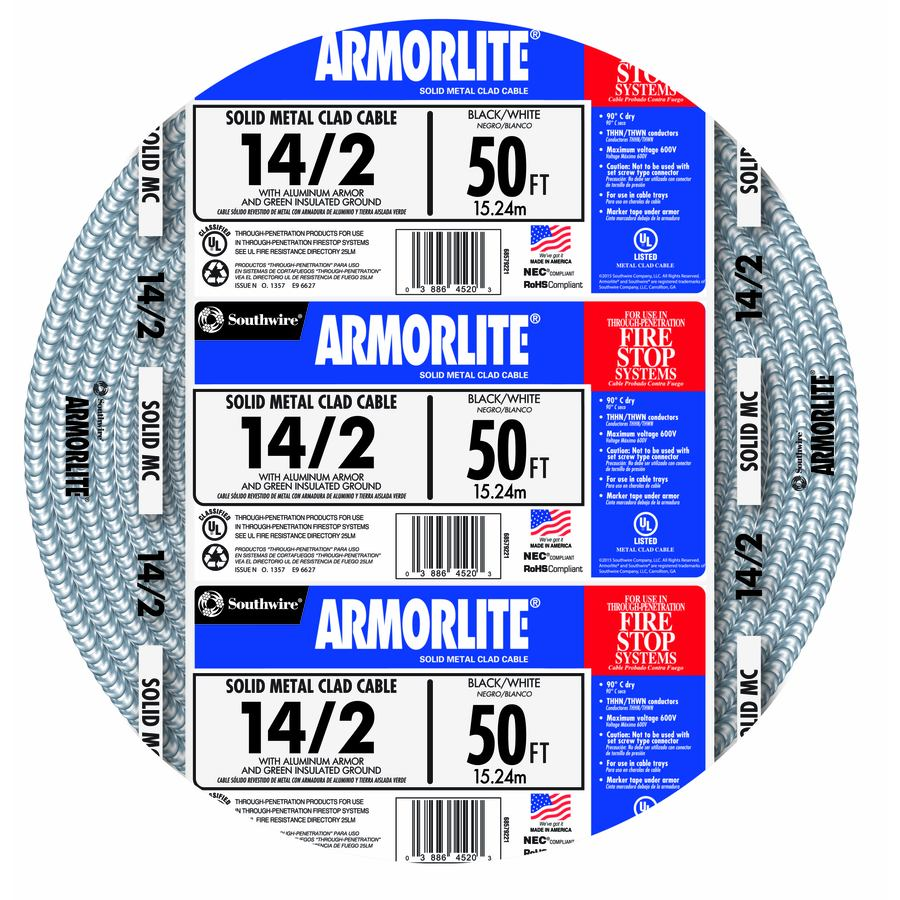 Southwire Armorlite 50-ft 14-2 Solid Aluminum MC Cable