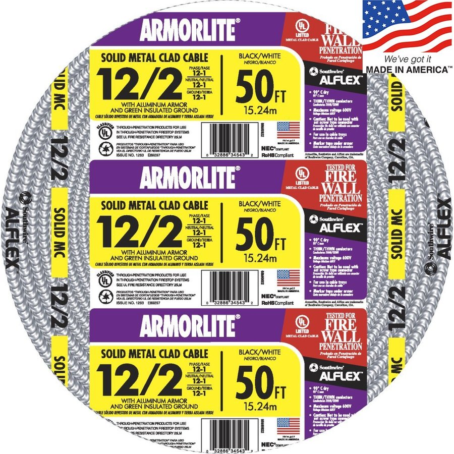 Southwire Armorlite 50-ft 12-2 Solid Aluminum MC Cable