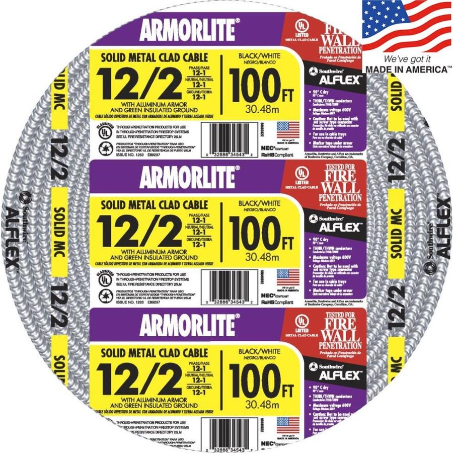 Southwire Armorlite 100-ft 12-2 Solid Aluminum MC Cable