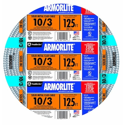 Armorlite 125-ft 10/3 Solid Aluminum MC Cable at Lowes com