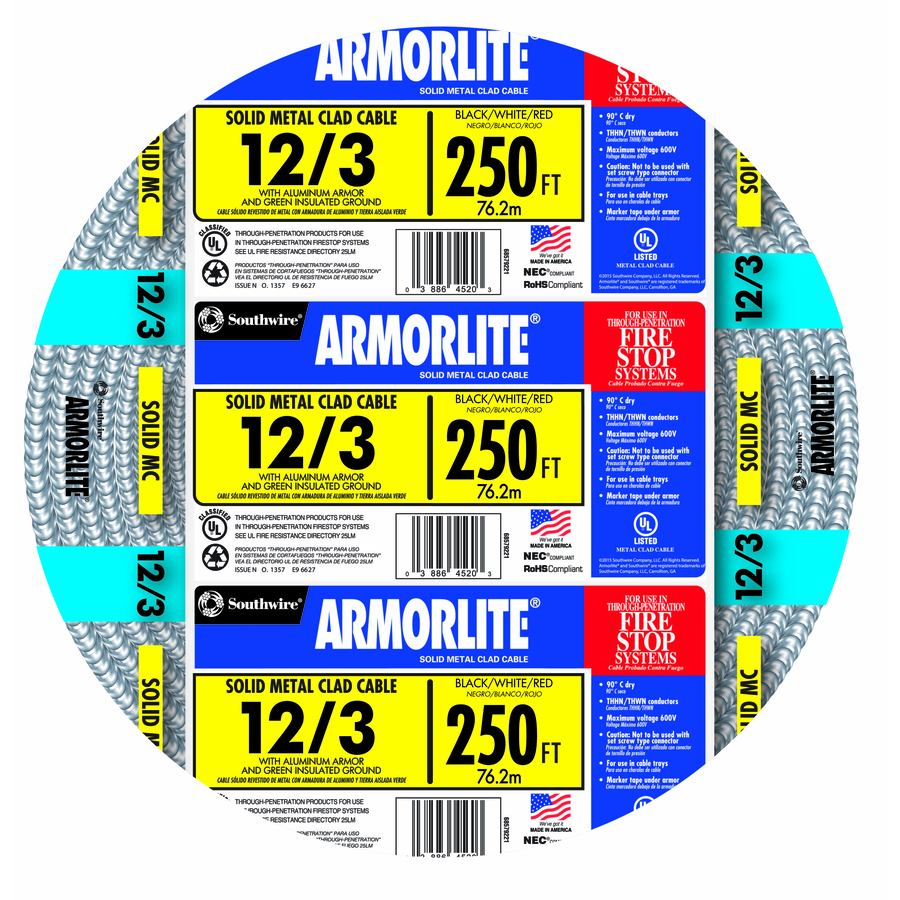 Southwire Armorlite 250-ft 12-3 Solid Aluminum MC Cable