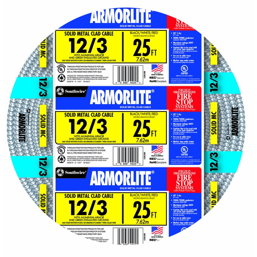 Armorlite 25-ft 12-3 Solid Aluminum MC Cable