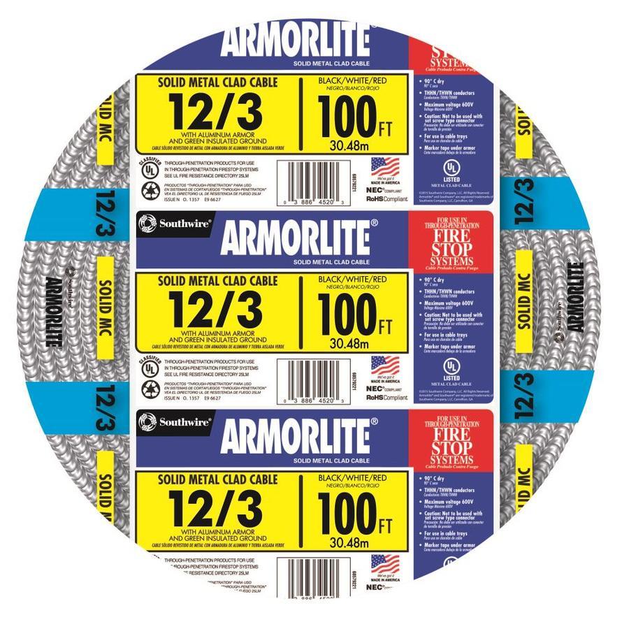 Armorlite 100-ft 12-3 Solid Aluminum MC Cable