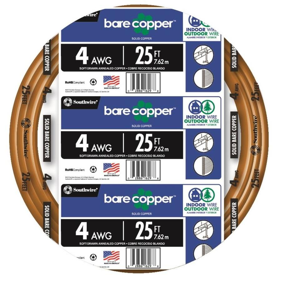 25-ft 4-Gauge Solid Soft Drawn Copper Bare Wire (By-the-Roll)